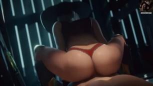 ANIME HENATI Ashe Reverse Cowgirl Overwatch (Animation WSound)