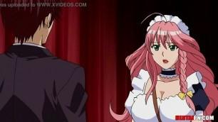 Maid delivers paizuri tit-fucking between massive boobs   Hentai Uncensored