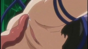 Caught anime gets squeezed her bigtits and ass drilled by tentacles