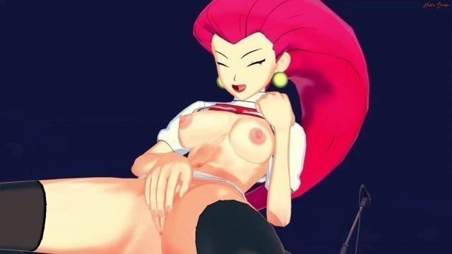 Jessie from Team Rocket fingers her pussy - Pokemon Hentai.