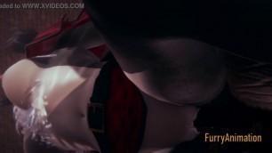 Furry Hentai - Beast and Black Cat having wild sex with creampie - Yiff anime manga japanese cartoon porn 3D