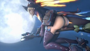 Witch Mercy Rides her Broom (by 1kmspaint)